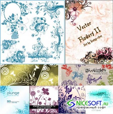 Floral Swirls Brushes Pack