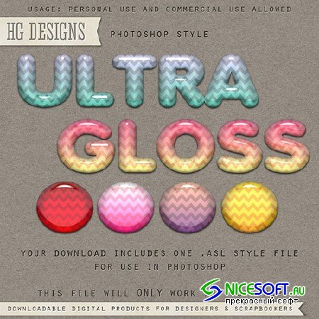 Ultra Gloss Photoshop ASL Styles