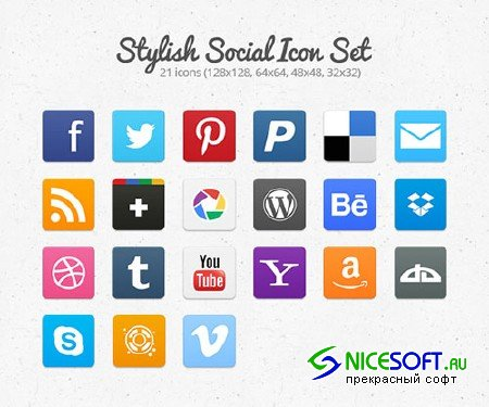 Stylish Social Icon Set