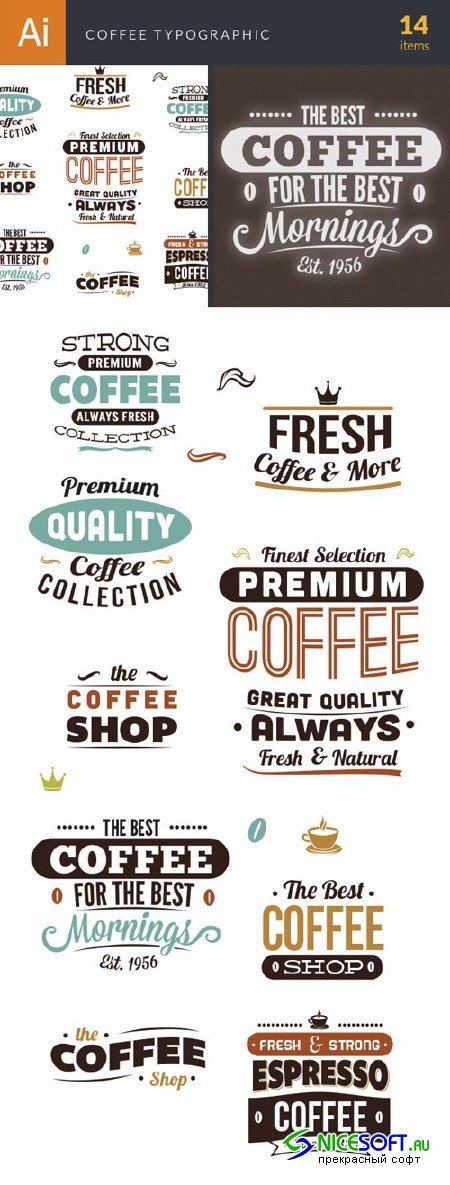 Coffee Typographic Vector Elements Set 1