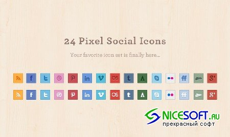 24 Pixel Social Media Icons