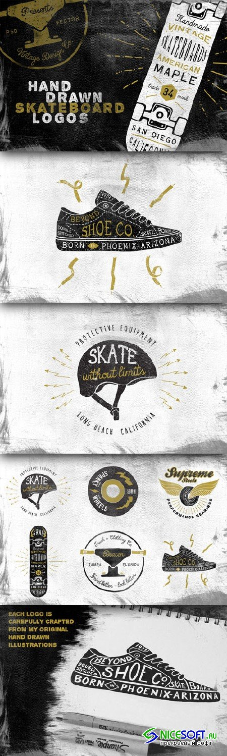 CreativeMarket - Hand Drawn Skateboard Logos