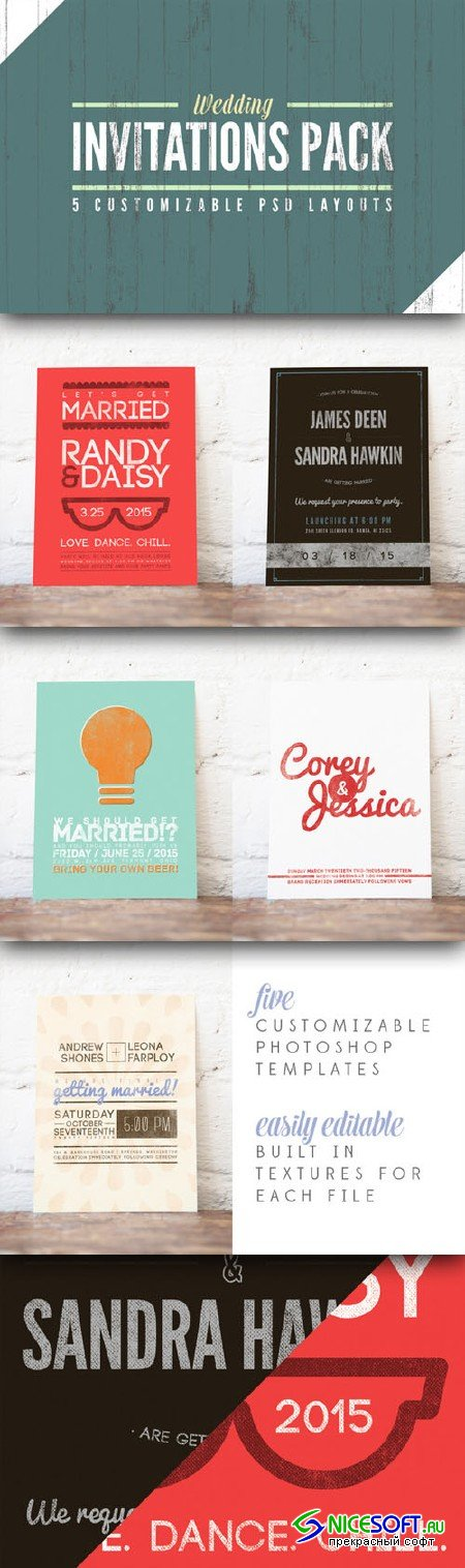 CreativeMarket - Wedding Invitation Templates Pack