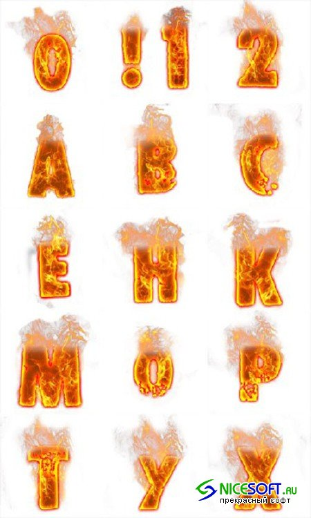 Fire Font Letters and Numbers PNG Clipart