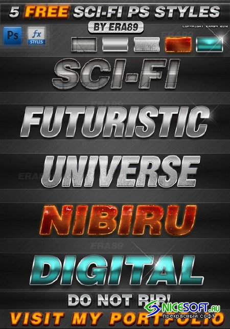 5 Sci-Fi Text Effects Photoshop Styles