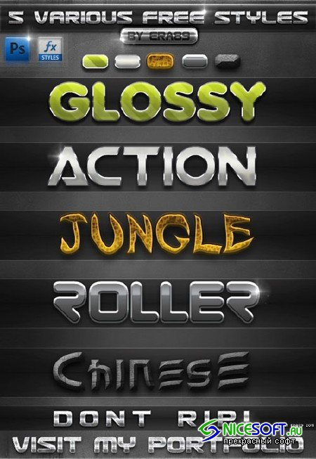 Colored Text Effects Photoshop Layer Styles #1