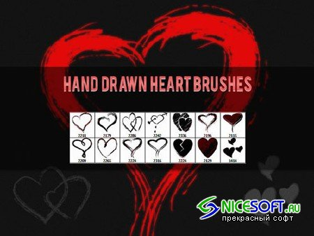 Hand Drawn Heart Photoshop Brushes