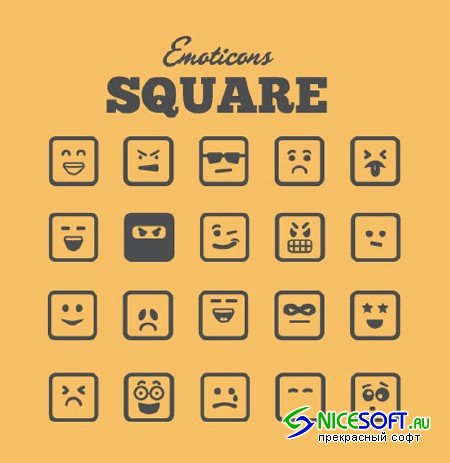 Square Vector Emoticons Vol 2