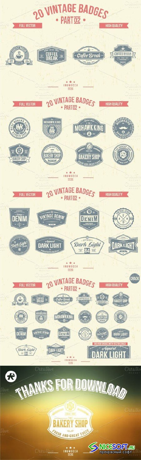 2O Vintage Badges (CLEAR & CRACK) 02 - Creativemarket 15730