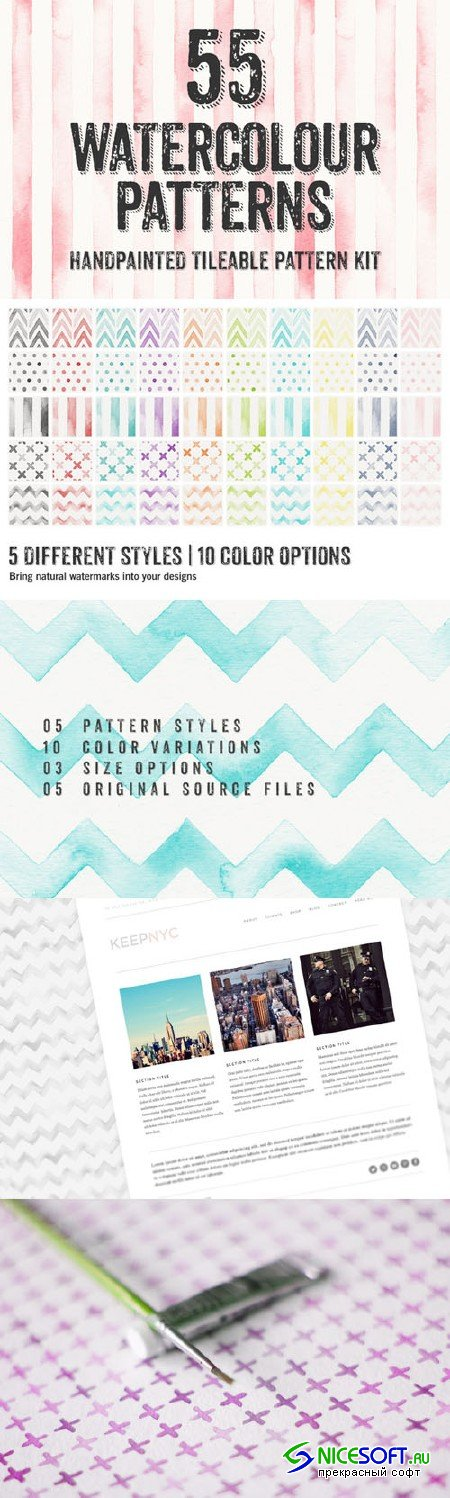 55 Watercolor Patterns - Creativemarket 14570