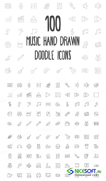 100 Music Hand Drawn Doodle Icons - Creativemarket 162976
