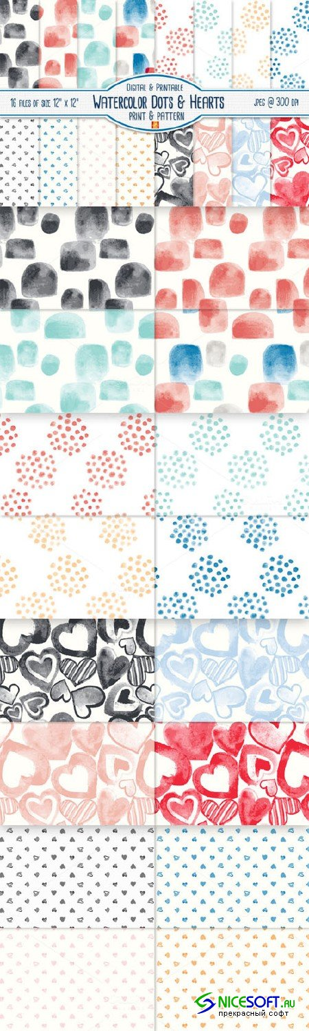 Watercolor Dot & Heart Digital Paper - Creativemarket 38775