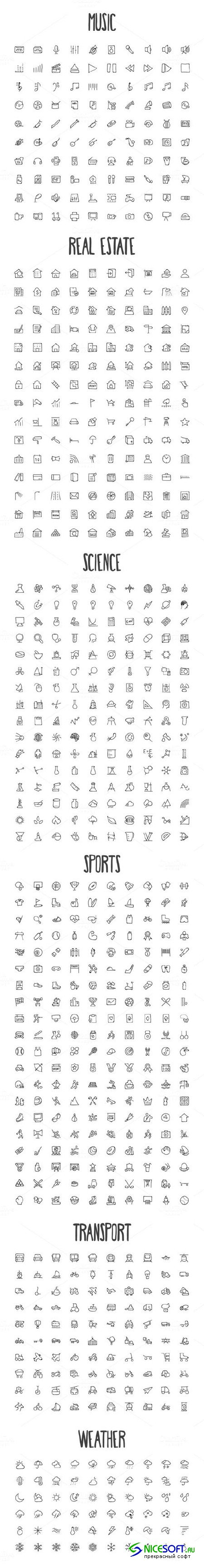 2440 Hand Drawn Doodle Icons Bundle - Creativemarket 167023