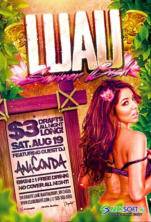 Luau Summer Bash Flyer Template