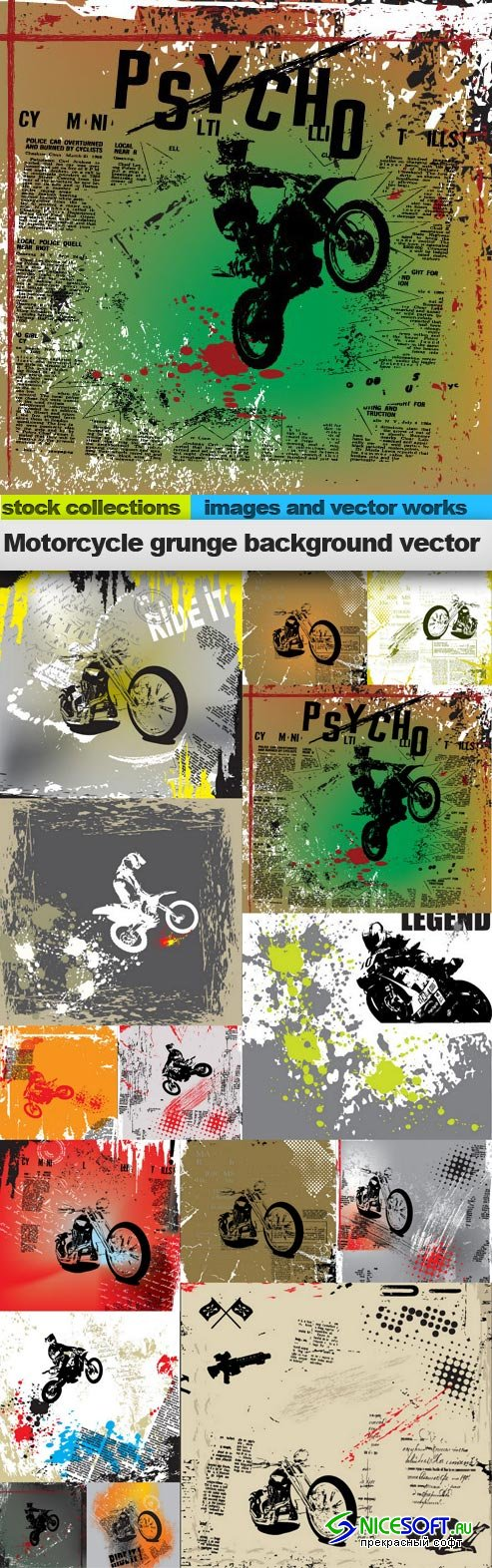 Motorcycle grunge background vector, 15 x EPS