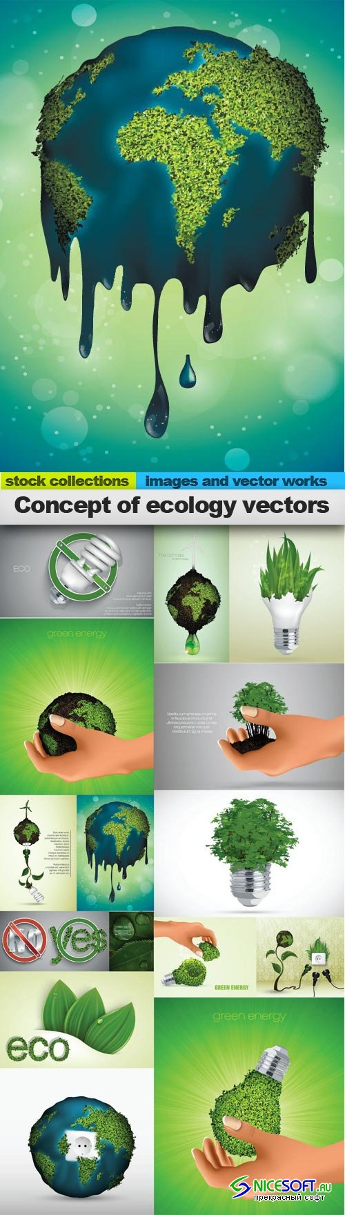 Concept of ecology vectors, 15 x EPS