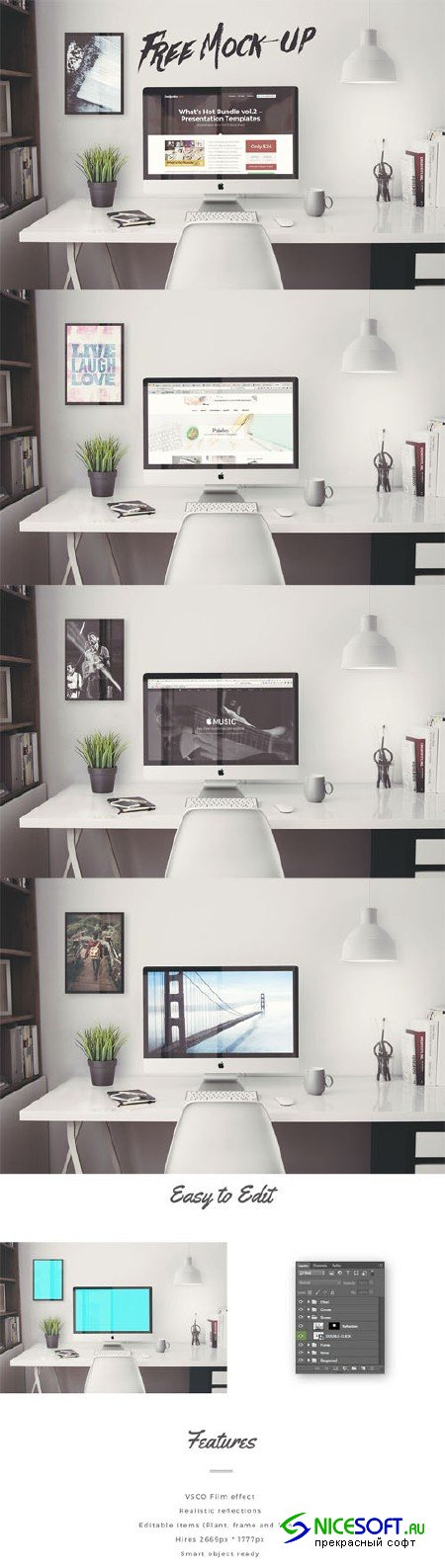 iMac Office Mock-Up PSD Template