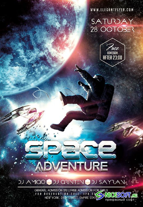Space Adventure Flyer PSD Template + Facebook Cover