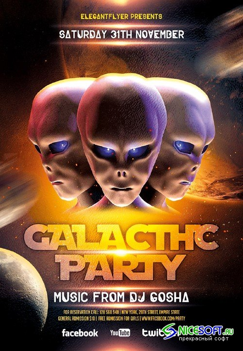 Galactic Party Flyer PSD Template + Facebook Cover
