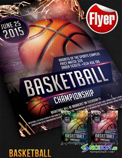 Basketball – Free Flyer PSD Template + Facebook Cover