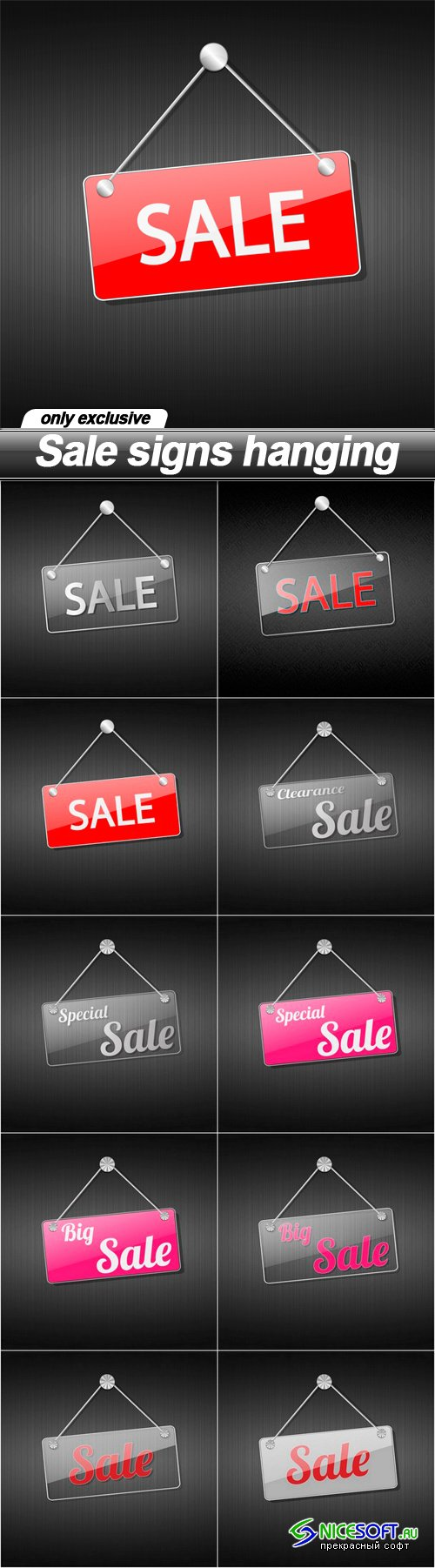 Sale signs hanging - 10 EPS