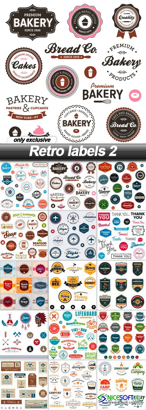 Retro labels 2 - 15 EPS