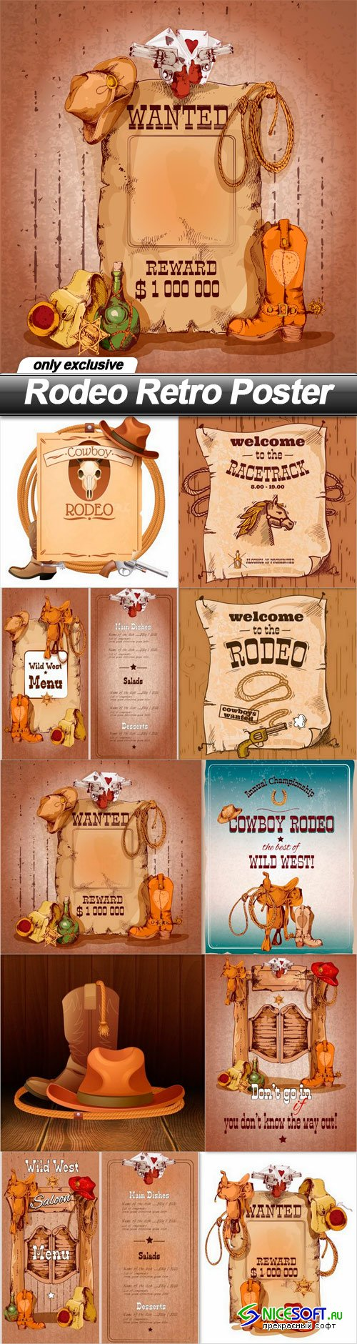 Rodeo Retro Poster - 10 EPS