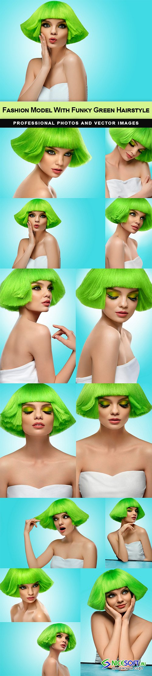 Fashion Model With Funky Green Hairstyle