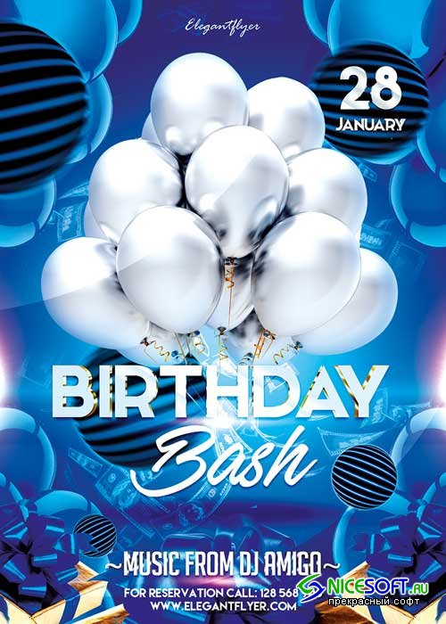 Birthday Bash Flyer PSD Template + Facebook Cover