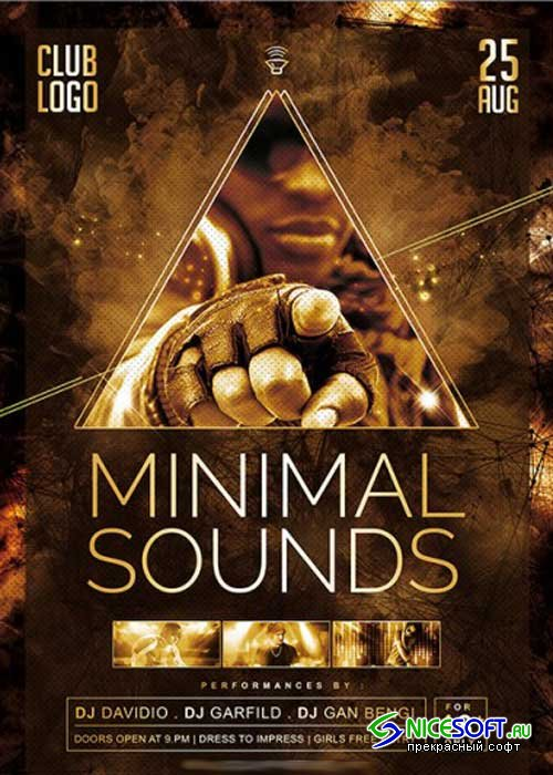 Minimal Sounds Vol.3 Premium Flyer Template + Facebook Cover