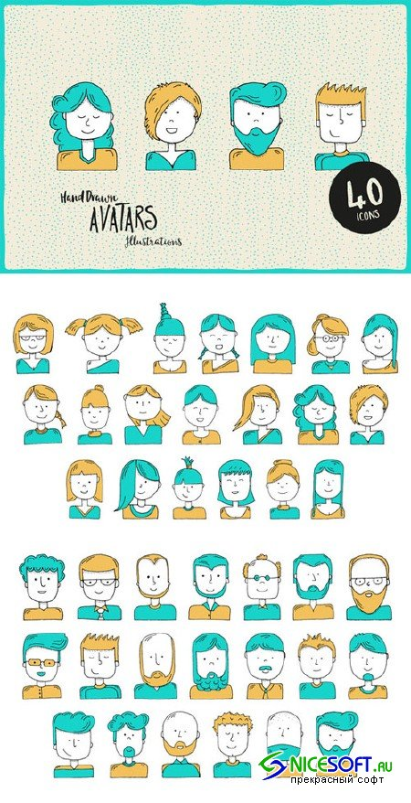 Hand-Illustrated Avatars - Creativemarket 459469