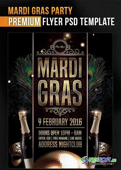 Mardi Gras Party Flyer PSD Template + Facebook Cover