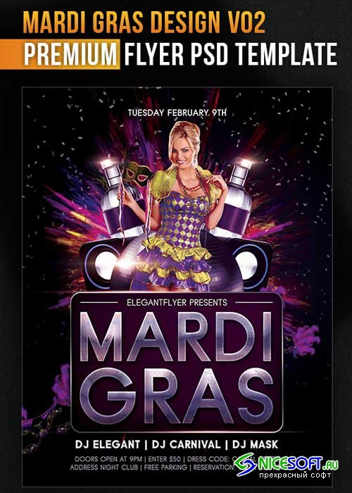 Mardi Gras Design V02 Flyer PSD Template + Facebook Cover