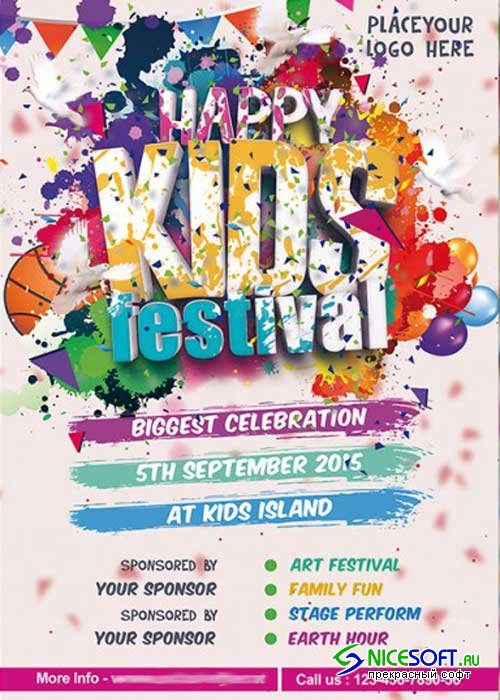Kids Festival Premium Flyer Template + Facebook Cover