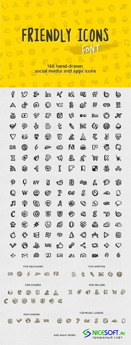 Friendly Icons Font - Creativemarket 27527
