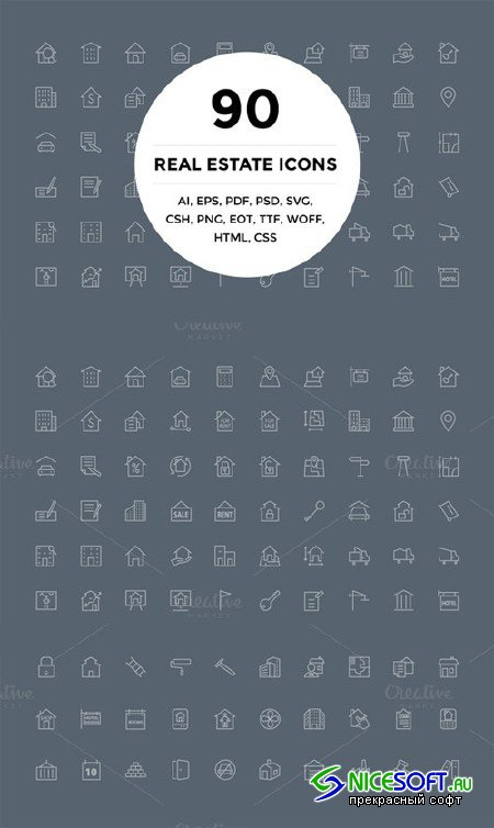90 Real Estate Icons - Creativemarket 141253
