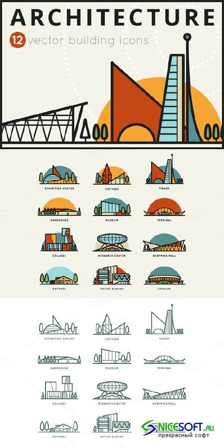 12 Vector building icons - Creativemarket 64073