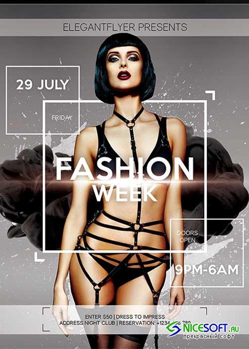 Fashion Week Flyer PSD Template + Facebook Cover