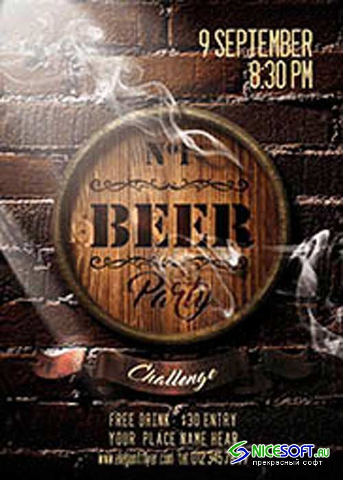 Beer Party Flyer PSD Template + Facebook Cover