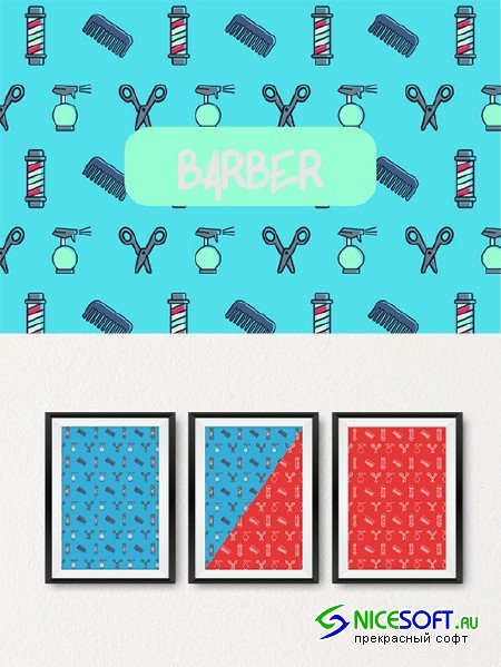 Barber icon pattern. - Creativemarket 551749