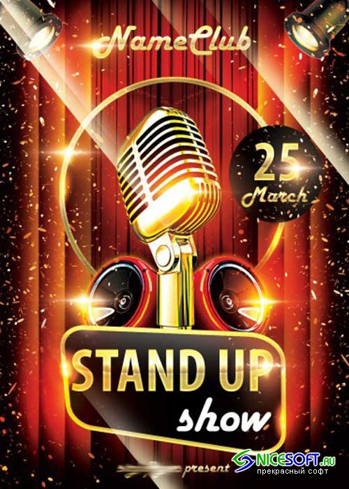 Stand Up Show V1 PSD Flyer Template with Facebook Cover