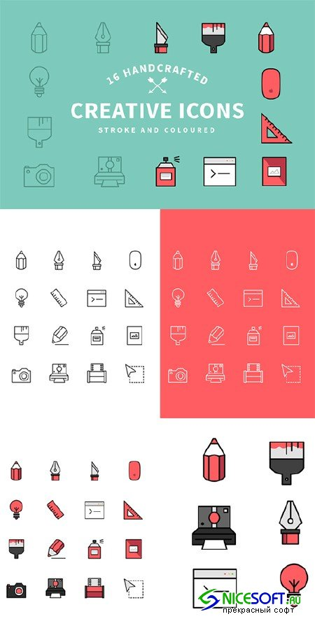 Flat Creative Icon Set - Creativemarket 96824