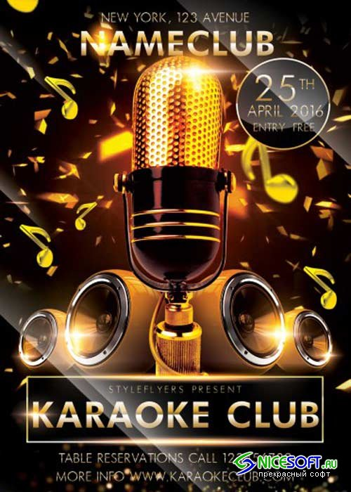 Karaoke Club V5 PSD Flyer Template
