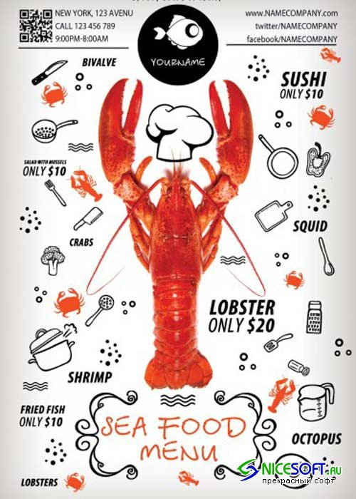 Sea Food Menu PSD Flyer Template