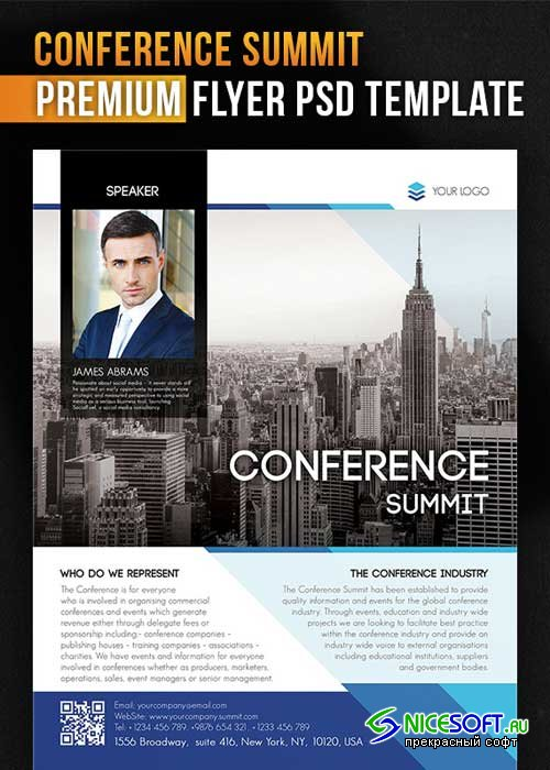 Conference Summit Flyer PSD Template + Facebook Cover