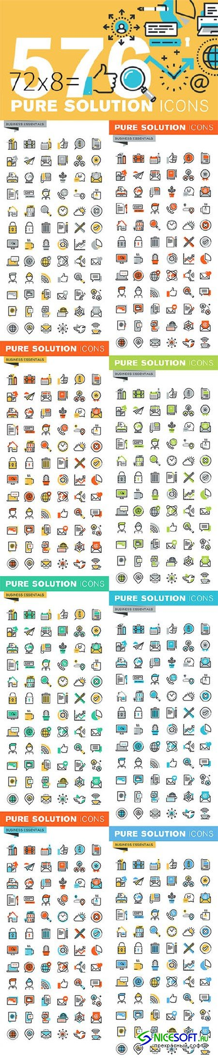 Set of Thin Line Business Icons - Creativemarket 522300