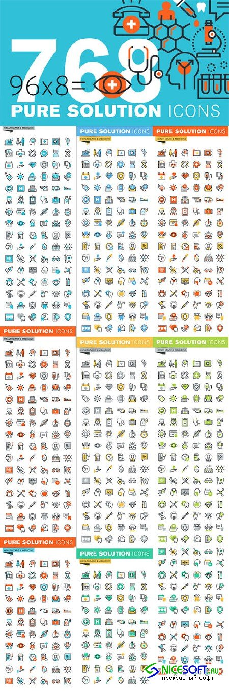 Set of Thin Line Icons of Healthcare - Creativemarket 522311