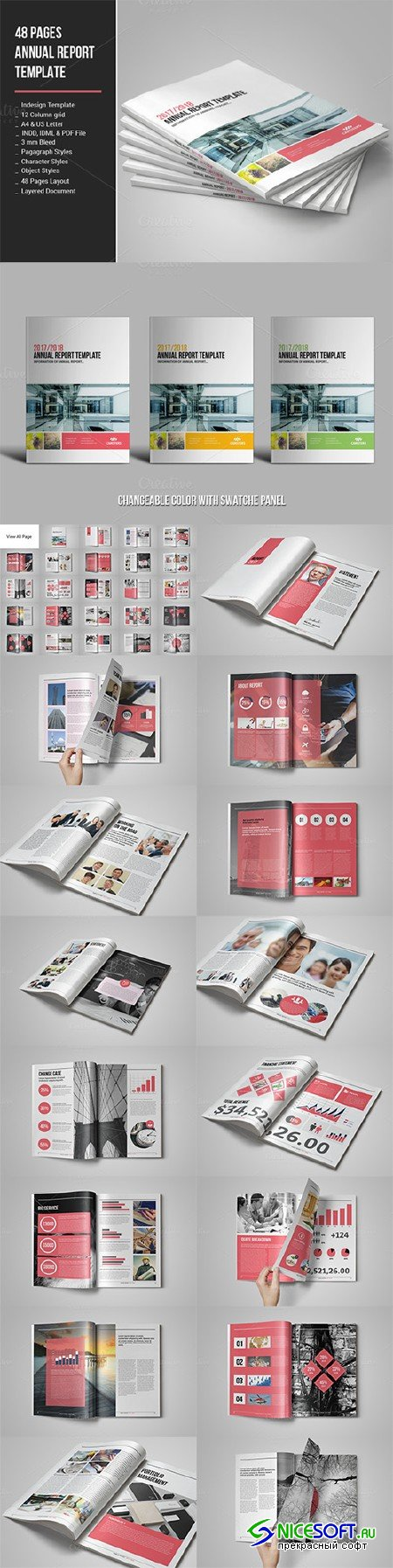 48 Pages Annual Report Template - Creativemarket 682531
