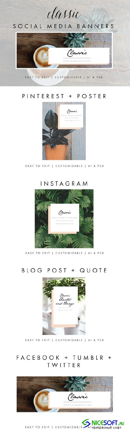 Social Media Banners - Classic - Creativemarket 638638