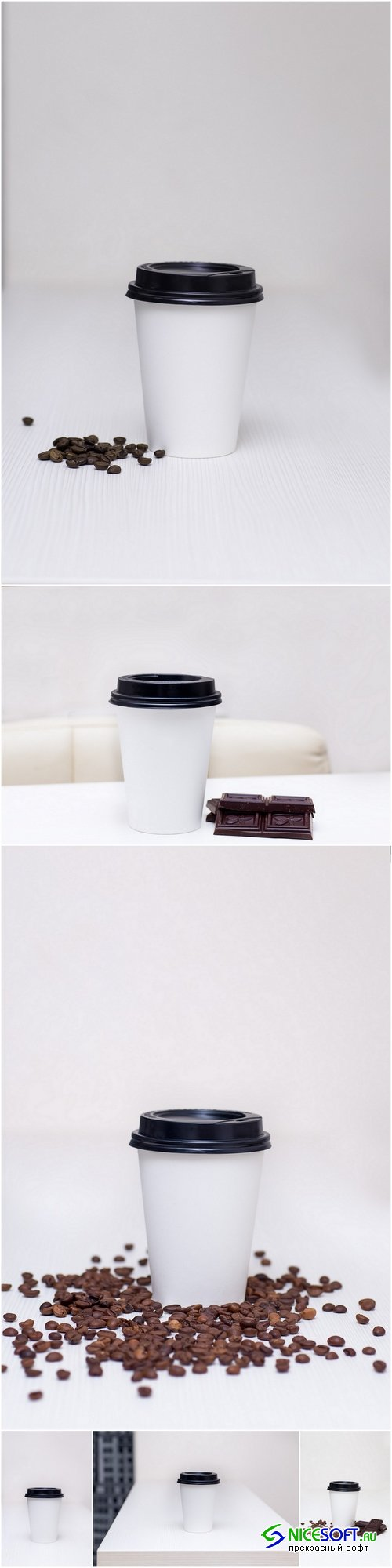 Paper cup with coffee and chocolate